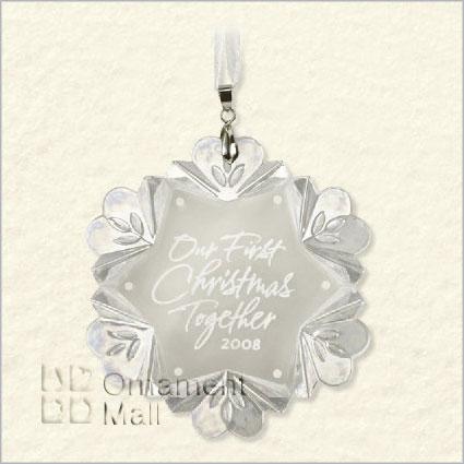 2008 First Christmas Together Glass Snowflake Hallmark