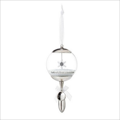 2013 Baby S First Christmas Silver Rattle Hallmark