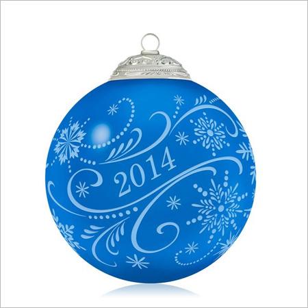 2014 Christmas Commemorative 2nd Blue Glass Ball Hallmark