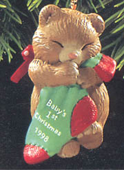 1998 Baby S First Christmas Bear W Stocking Hallmark