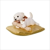 2017 Puppy Love Playful Puppy Surprise White Dog Gold Pillow