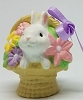 1985 White Bunny In Basket Of Flowers *MM Easter