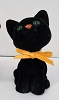 1982 Flocked Black Cat  With Orange Bow *MM Halloween