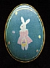 1988 Tin Egg - Aqua With Bunny *MM Easter