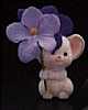 1985 Flocked White Mouse With Purple Flowers *MM Easter