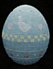 1986 Egg - Aqua With Geese And Tulips *MM Easter