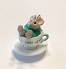 1991 Tiny Tea Party Porcelain  *Miniature  (NB..Mouse in Teacup Green Shirt)