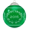 2015 Christmas Commemorative 3rd Green Glass Ball