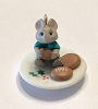 1991 Tiny Tea Party Porcelain  *Miniature  (NB..Mouse with Cookies Teal Shirt)