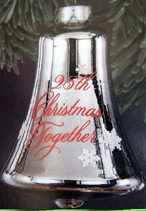 1983 25th Christmas Together Silver Glass Bell (NB) Hallmark Keepsake Ornament QX2247-2