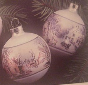 1974 Currier & Ives  Set of 2 Balls (NB) Hallmark Keepsake Ornament 350QX112-1-2
