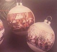 1975 Currier And Ives Set Of 2 Balls (NB) Hallmark Keepsake Ornament 400QX137-1