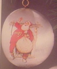 1975 Norman Rockwell Santa at Fireplace Ball (NB) Hallmark Keepsake Ornament 250QX166-1