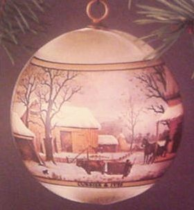 1976 Currier And Ives Satin Ball Hallmark Keepsake Ornament 250QX209-1