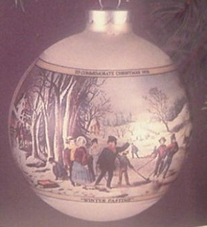 1976 Currier And Ives Glass Ball- Ball has Spots (NB) Hallmark Keepsake Ornament 300QX197-1-2