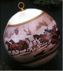 1977 Currier & Ives Ball (NB) Hallmark Keepsake Ornament 350QX130-2