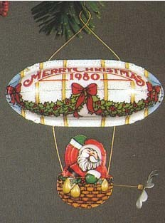 1980 Santa's Flight Tin Blimp  (NB) Hallmark Keepsake Ornament 5550QX138-1-2