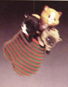 1984 Three Kittens In A Mitten Hallmark Keepsake Ornament 800QX431-1