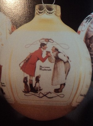 1987 Norman Rockwell Christmas Scenes Ball (NB) Hallmark Keepsake Ornament 475QX2827-2