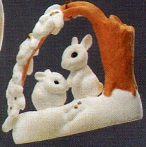 1988 Christmas is Sharing *Club..Snow Bunnies Hallmark Keepsake Ornament 1750QX407-1