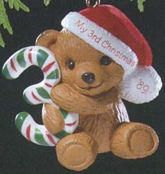 1989 Child's Age: Child's 3rd Christmas Bear  Hallmark Keepsake Ornament 675QX469-5