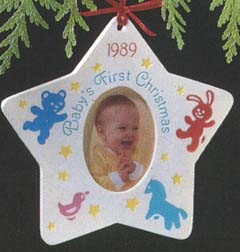 1989 Baby's First Christmas Photo Holder (NB) Hallmark Keepsake Ornament 625QX468-4