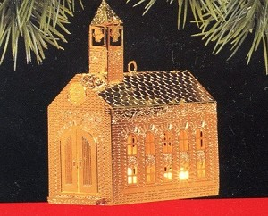 1991 Festive Brass Church Hallmark Keepsake Ornament QLX7179