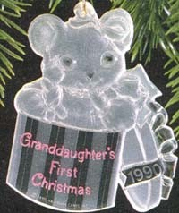 1990 Granddaughter's First Christmas-Acrylic  Hallmark Keepsake Ornament 675QX310-6