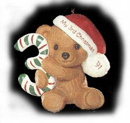 1991 Child's Age: Child's 3rd Christmas Bear Hallmark Keepsake Ornament 675QX489-9