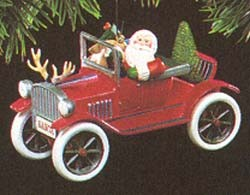 1991 Here Comes Santa 13th-Antique Car (SDB) Hallmark Keepsake Ornament 1475QX434-9