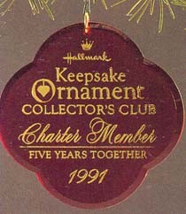 1991 Five Years Together - Charter  *Club Hallmark Keepsake Ornament QXC315-9