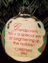 1992 Grandparents Glass Ball  (NB) Hallmark Keepsake Ornament 475QX200-4-2