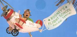 1992 Rodney Takes Flight Airplane *Club Hallmark Keepsake Ornament QXC508-1