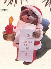 1992 Santa's Club List-Lighted *Club Hallmark Keepsake Ornament 1500QXC729-1