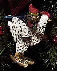 1994 Folk Art Racing Through The Snow Chicken  Hallmark Keepsake Ornament 1575QK117-3