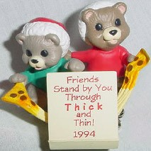 1994 Thick And Thin Pizza Hallmark Keepsake Ornament 1095QX569-3