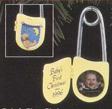 1996 Baby's First Christmas - Diaper Pin Photo Holder Hallmark Keepsake Ornament 795QX576-1