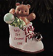 1996 Baby's First Christmas Bear In Shoe  Hallmark Keepsake Ornament 995QX575-4
