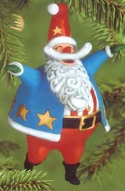 2000 Hooray For The U.S.A. Patriotic Santa Hallmark Keepsake Ornament 995QX828-1
