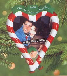 2000 Our First Christmas Together-Photo Holder Candy Cane Heart Hallmark Keepsake Ornament 895QX805-1