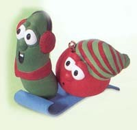 2000 Veggie Tales Bob the Tomato & Larry Cucumber Hallmark Keepsake Ornament 995QX433-4