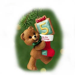 2001 Age Bear-Child's 5th Christmas  Hallmark Keepsake Ornament 795QX839-5