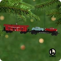 2001 Miniature Lionel Norfolk & Western 3rd Car Carrier & Caboose Final *Miniature Hallmark Keepsake Ornament 1295QXM526-5