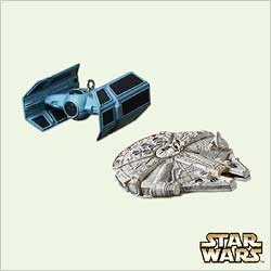 2005 Star Wars TIE Advanced x1 & Millennium Falcon set/2 *Miniature  Hallmark Keepsake Ornament 1495QXM2085