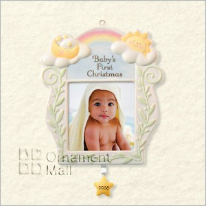2008 Baby's 1st Christmas Ceramic Photo Holder Hallmark Keepsake Ornament QXG6411