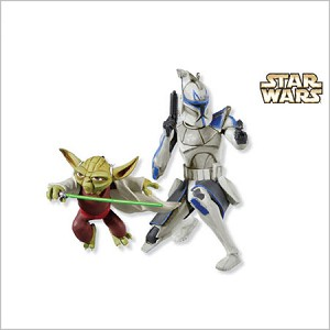 2010 Star Wars Master Yoda and Captain Rex set/2 Hallmark Keepsake Ornament QXI2336