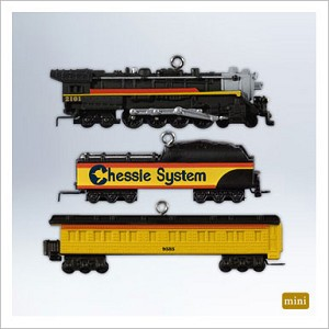 2012 Miniature Lionel Chessie Steam Special set/3 *Miniature Hallmark Keepsake Ornament qxm9011-2-2