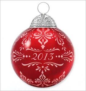 2013 Christmas Commemorative 1st Red Glass Ball Hallmark Keepsake Ornament 2013CommemBall
