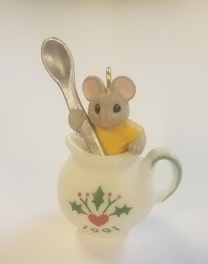 1991 Tiny Tea Party Porcelain  *Miniature  (NB..Mouse in Teacup Green Shirt) Hallmark Keepsake Ornament 2900QXM582-7-2