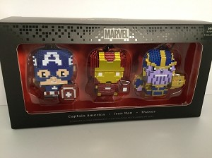 2018 MARVEL Captain America, Iron Man, Thanos set/3 PXL8 *Comic Con Exclusive Hallmark Keepsake Ornament 2HCM3441
